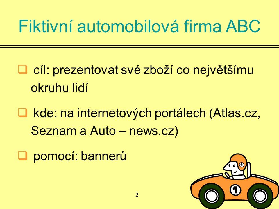 2 Fiktivní automobilová firma ABC  cíl: prezentovat své zboží co největšímu okruhu lidí  kde: na internetových portálech (Atlas.cz, Seznam a Auto – news.cz)  pomocí: bannerů