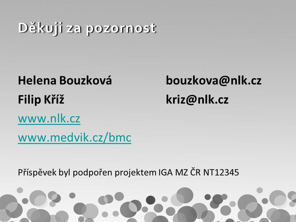 Děkuji za pozornost Helena Bouzkovábouzkova@nlk.cz Filip Křížkriz@nlk.cz www.nlk.cz www.medvik.cz/bmc Příspěvek byl podpořen projektem IGA MZ ČR NT12345