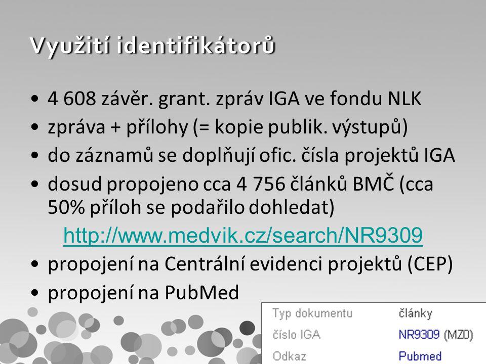 Citovanost a Impakt faktor graf využití PubMed ID v programových rozhraních (API) –Scopus, Web of Science ISSN - Journal Citation Reports – u časopisů i článků