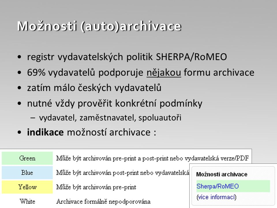 Možnosti (auto)archivace registr vydavatelských politik SHERPA/RoMEO 69% vydavatelů podporuje nějakou formu archivace zatím málo českých vydavatelů nutné vždy prověřit konkrétní podmínky –vydavatel, zaměstnavatel, spoluautoři indikace možností archivace :