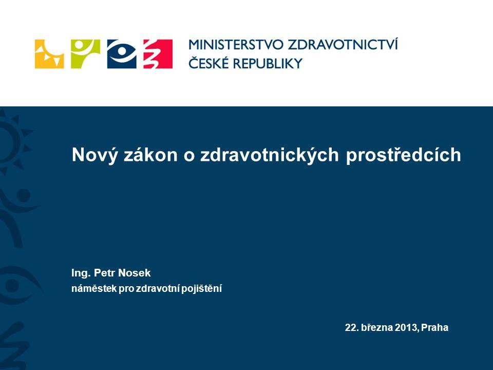 Nový zákon o zdravotnických prostředcích Ing. Petr Nosek náměstek pro zdravotní pojištění 22.