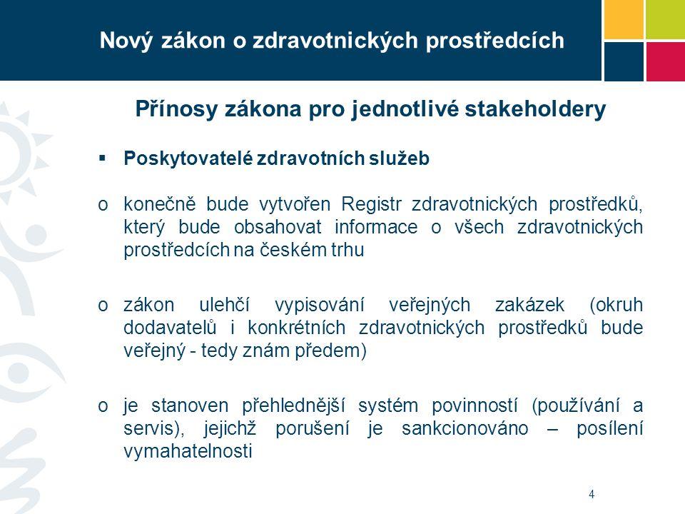4 Přínosy zákona pro jednotlivé stakeholdery  Poskytovatelé zdravotních služeb okonečně bude vytvořen Registr zdravotnických prostředků, který bude obsahovat informace o všech zdravotnických prostředcích na českém trhu ozákon ulehčí vypisování veřejných zakázek (okruh dodavatelů i konkrétních zdravotnických prostředků bude veřejný - tedy znám předem) oje stanoven přehlednější systém povinností (používání a servis), jejichž porušení je sankcionováno – posílení vymahatelnosti Nový zákon o zdravotnických prostředcích