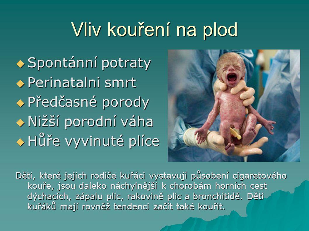 Vliv kouření na plod  Spontánní potraty  Perinatalni smrt  Předčasné porody  Nižší porodní váha  Hůře vyvinuté plíce Děti, které jejich rodiče ku