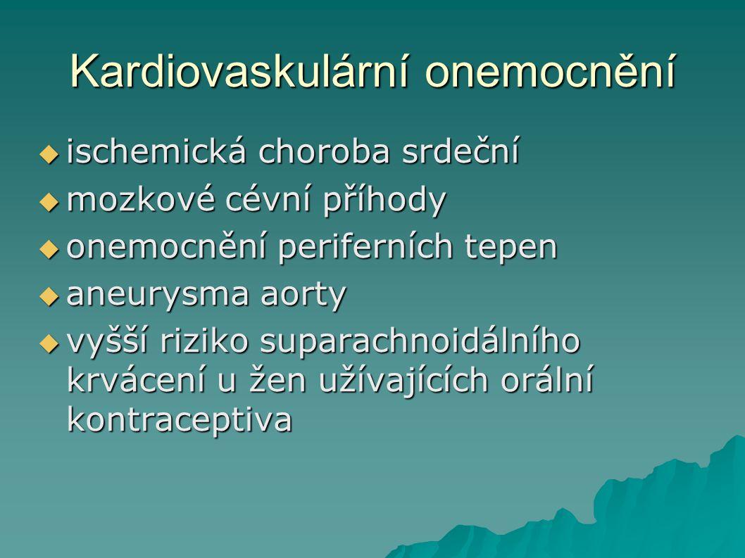 Kardiovaskulární onemocnění  ischemická choroba srdeční  mozkové cévní příhody  onemocnění periferních tepen  aneurysma aorty  vyšší riziko supar