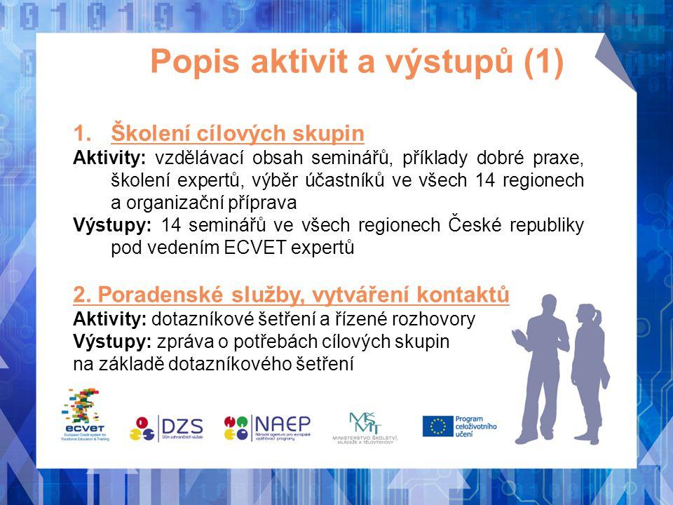 Popis aktivit a výstupů (1) 1.Školení cílových skupin Aktivity: vzdělávací obsah seminářů, příklady dobré praxe, školení expertů, výběr účastníků ve v