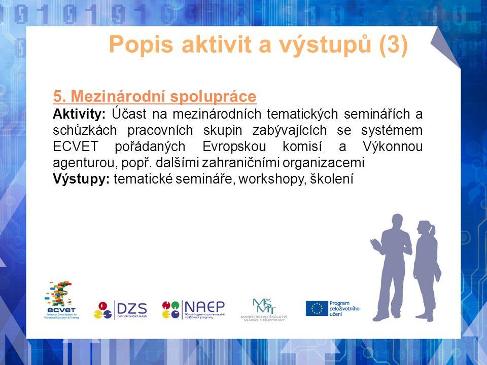 Popis aktivit a výstupů (3) 5. Mezinárodní spolupráce Aktivity: Účast na mezinárodních tematických seminářích a schůzkách pracovních skupin zabývající