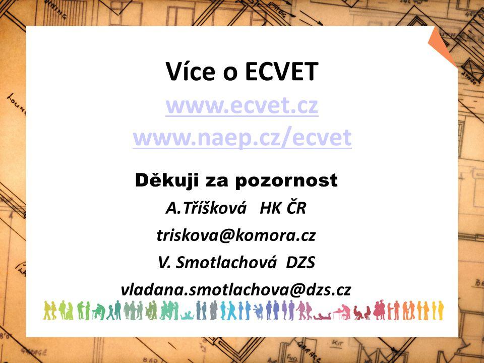 Více o ECVET www.ecvet.cz www.naep.cz/ecvet www.ecvet.cz www.naep.cz/ecvet Děkuji za pozornost A.Tříšková HK ČR triskova@komora.cz V. Smotlachová DZS