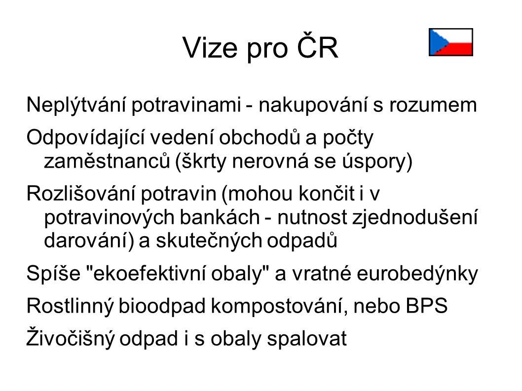Vize pro ČR Neplýtvání potravinami - nakupování s rozumem Odpovídající vedení obchodů a počty zaměstnanců (škrty nerovná se úspory) Rozlišování potrav