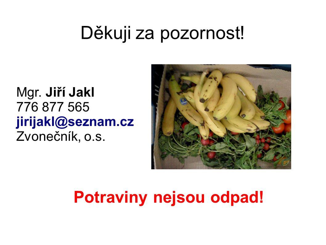 Děkuji za pozornost! Mgr. Jiří Jakl 776 877 565 jirijakl@seznam.cz Zvonečník, o.s. Potraviny nejsou odpad!