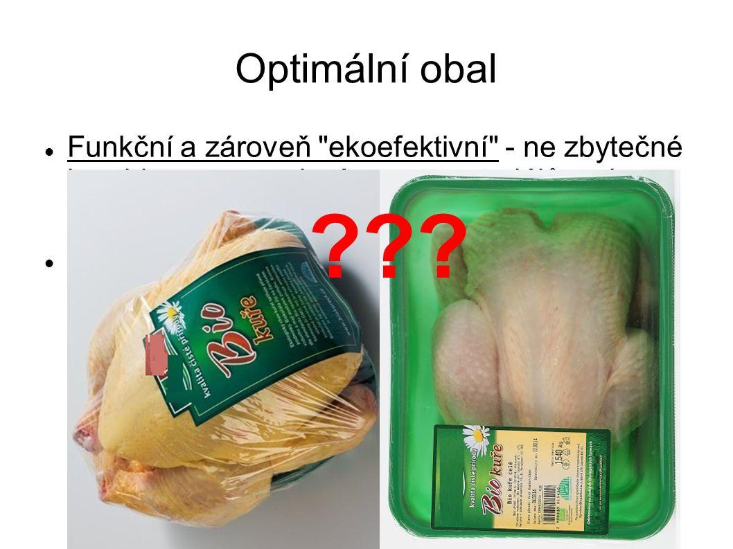 Optimální obal Funkční a zároveň ekoefektivní - ne zbytečné kombinace a masivní vrstvy materiálů, ani chatrný obal, vhodný tvar Trvanlivost prodlužována hliníkovými vrstvami, balícími plyny či vakuací, uchování dehydratovaného, sterilovaného či mraženého obsahu - menší nároky u čerstvých potravin