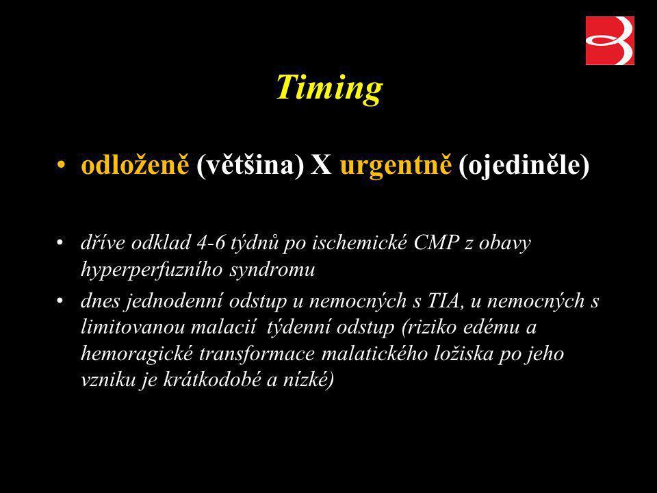 Timing odloženě (většina) X urgentně (ojediněle) dříve odklad 4-6 týdnů po ischemické CMP z obavy hyperperfuzního syndromu dnes jednodenní odstup u ne