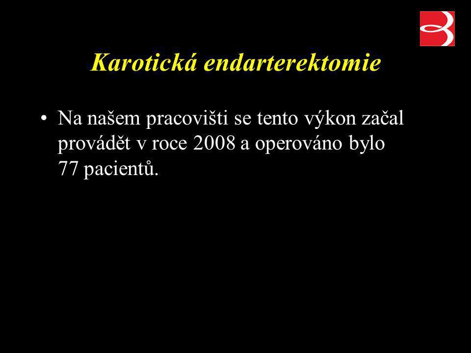 Karotická endarterektomie Na našem pracovišti se tento výkon začal provádět v roce 2008 a operováno bylo 77 pacientů.