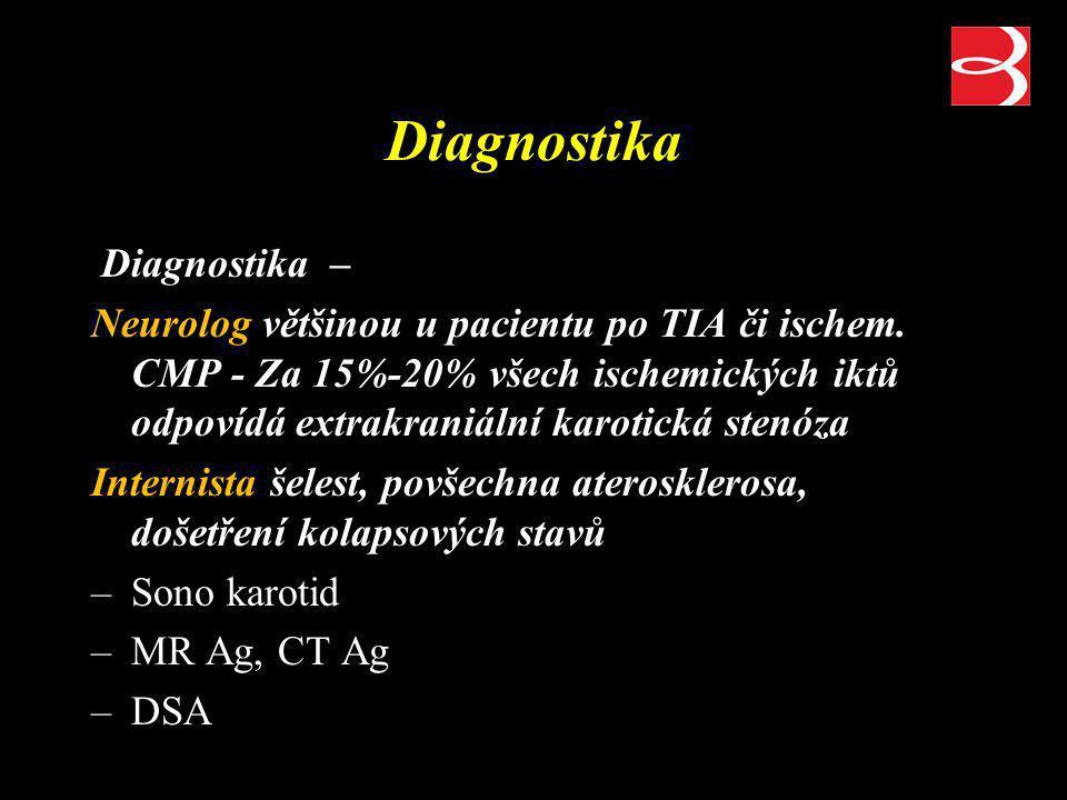 Diagnostika Diagnostika – Neurolog většinou u pacientu po TIA či ischem. CMP - Za 15%-20% všech ischemických iktů odpovídá extrakraniální karotická st