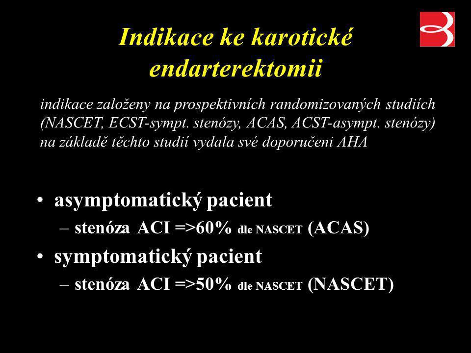 Indikace ke karotické endarterektomii asymptomatický pacient –stenóza ACI =>60% dle NASCET (ACAS) symptomatický pacient –stenóza ACI =>50% dle NASCET