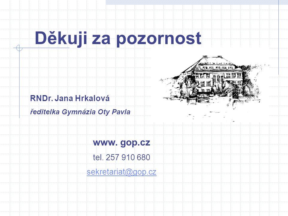 RNDr. Jana Hrkalová ředitelka Gymnázia Oty Pavla www. gop.cz tel. 257 910 680 sekretariat@gop.cz Děkuji za pozornost