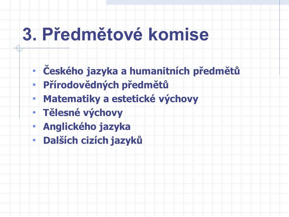 3. Předmětové komise Českého jazyka a humanitních předmětů Přírodovědných předmětů Matematiky a estetické výchovy Tělesné výchovy Anglického jazyka Da