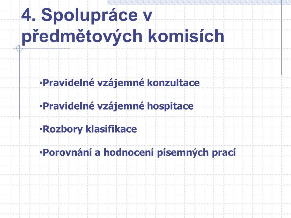 4. Spolupráce v předmětových komisích Pravidelné vzájemné konzultace Pravidelné vzájemné hospitace Rozbory klasifikace Porovnání a hodnocení písemných