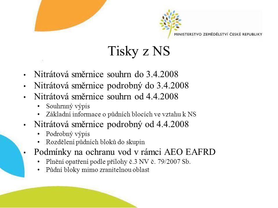 Tisky z NS Nitrátová směrnice souhrn do 3.4.2008 Nitrátová směrnice podrobný do 3.4.2008 Nitrátová směrnice souhrn od 4.4.2008 Souhrnný výpis Základní