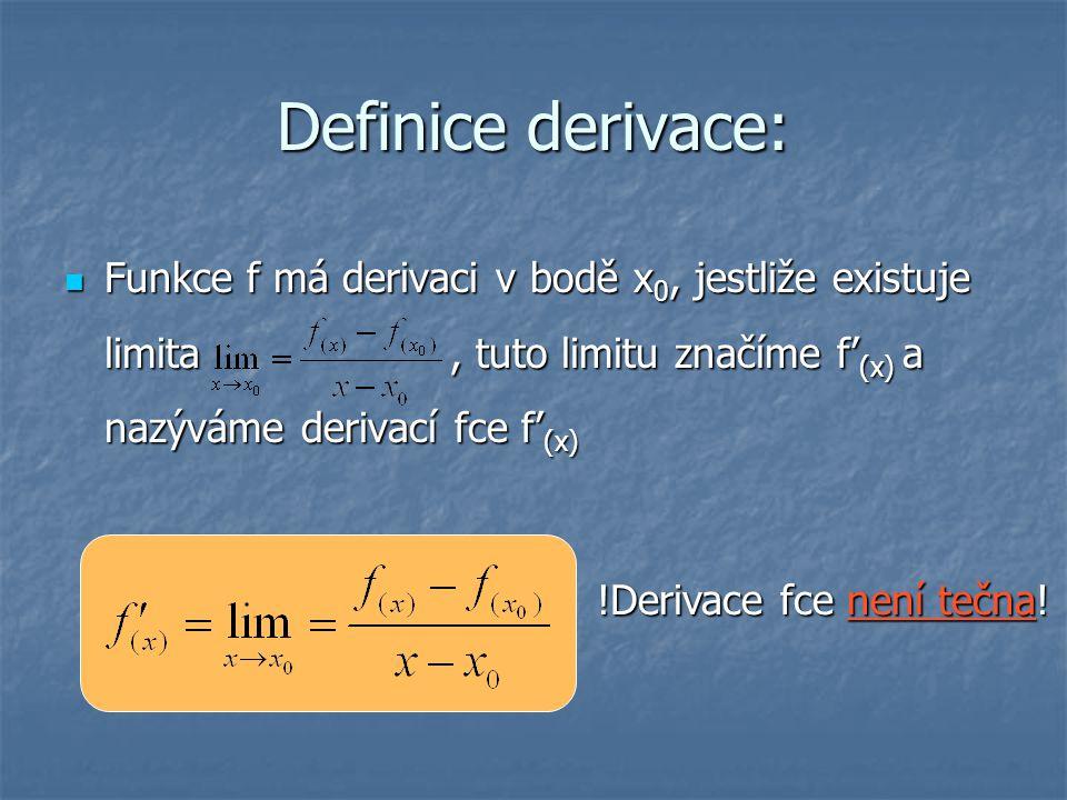 Definice derivace: Funkce f má derivaci v bodě x 0, jestliže existuje limita, tuto limitu značíme f' (x) a nazýváme derivací fce f' (x) Funkce f má de