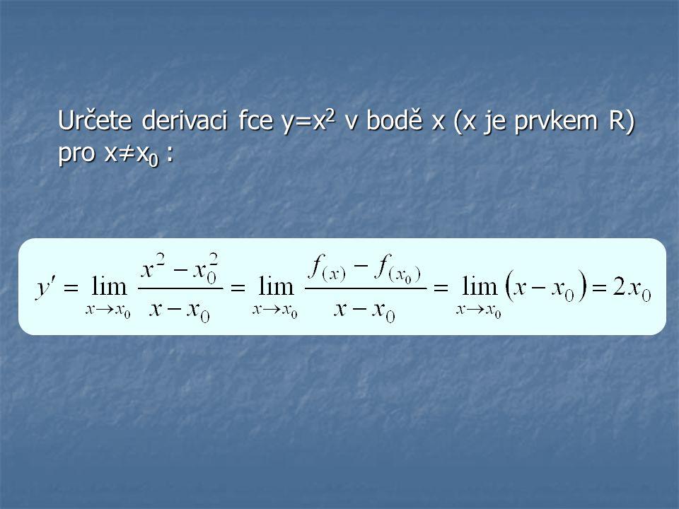 Určete derivaci fce: f: y=x 3 -2x+1 f: y=x 3 -2x+1 => y´=3x 2 -2 f: y=cosx+6x 4 -5 x f: y=cosx+6x 4 -5 x => y´=-sinx+24x 3 -5 x.ln5 f: y=x 7 -x -3 f: y=x 7 -x -3 => y´=7x 6 +3x -4