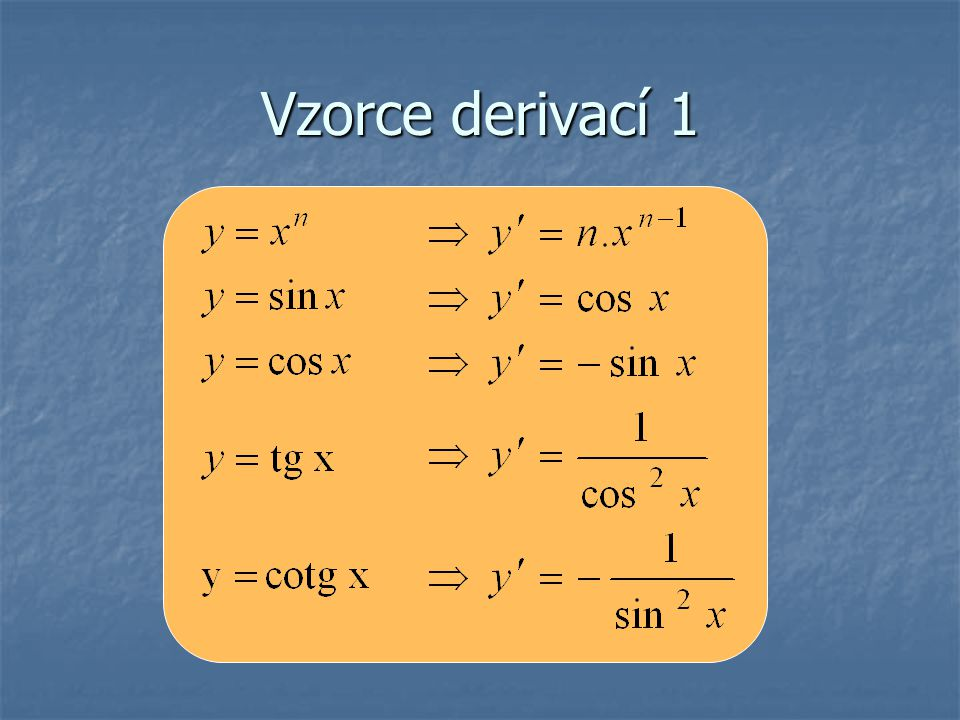 Vzorce derivací 2