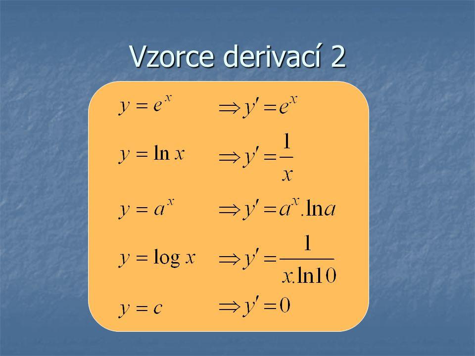 Derivace součinu a podílu Jsou dány funkce f(x) a g(x), které mají derivaci bodě x 0, přičemž hodnota funkce g(x) ≠0.