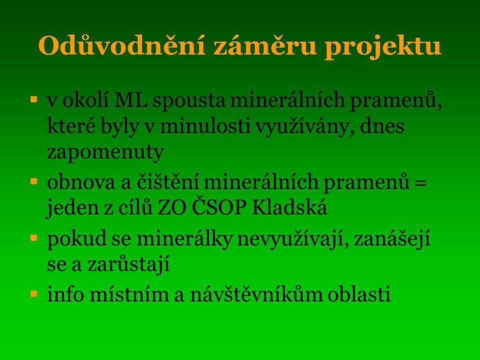 Odůvodnění záměru projektu  v okolí ML spousta minerálních pramenů, které byly v minulosti využívány, dnes zapomenuty  obnova a čištění minerálních pramenů = jeden z cílů ZO ČSOP Kladská  pokud se minerálky nevyužívají, zanášejí se a zarůstají  info místním a návštěvníkům oblasti