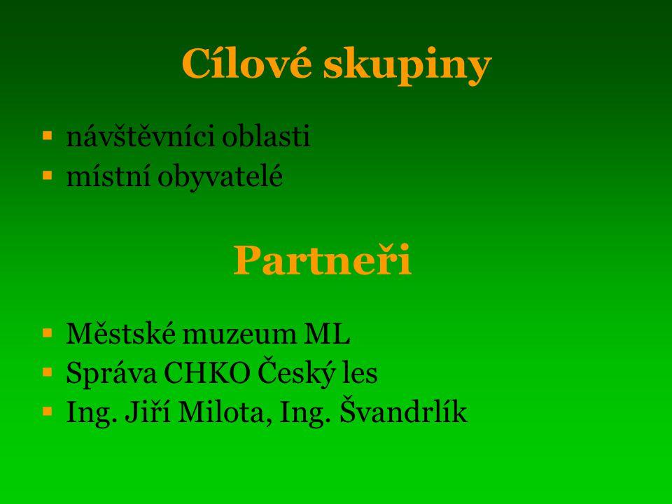 Cílové skupiny  návštěvníci oblasti  místní obyvatelé  Městské muzeum ML  Správa CHKO Český les  Ing.