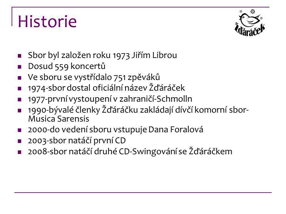 Historie Sbor byl založen roku 1973 Jiřím Librou Dosud 559 koncertů Ve sboru se vystřídalo 751 zpěváků 1974-sbor dostal oficiální název Žďáráček 1977-