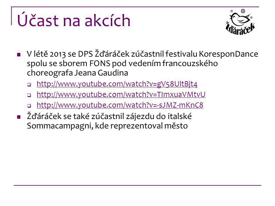 Účast na akcích V létě 2013 se DPS Žďáráček zúčastnil festivalu KoresponDance spolu se sborem FONS pod vedením francouzského choreografa Jeana Gaudina