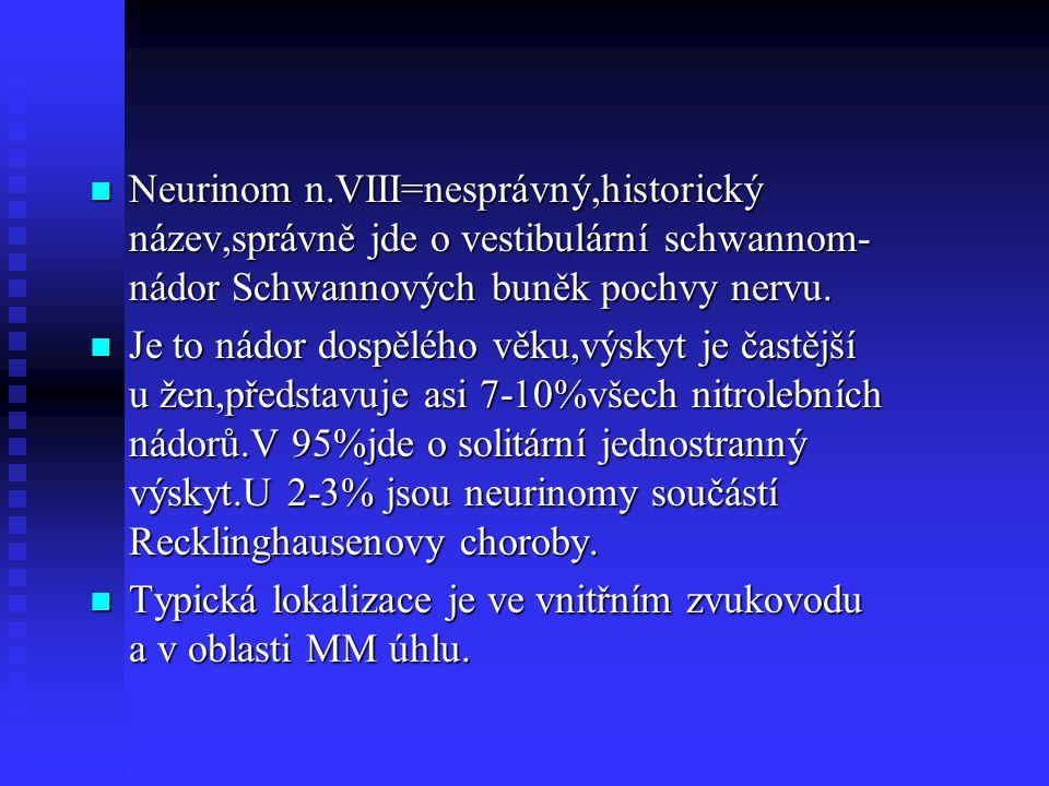 Neurinom n.VIII=nesprávný,historický název,správně jde o vestibulární schwannom- nádor Schwannových buněk pochvy nervu. Neurinom n.VIII=nesprávný,hist