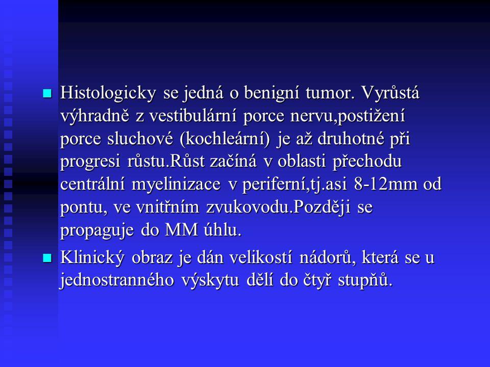 Histologicky se jedná o benigní tumor. Vyrůstá výhradně z vestibulární porce nervu,postižení porce sluchové (kochleární) je až druhotné při progresi r