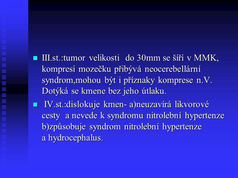 III.st.:tumor velikosti do 30mm se šíří v MMK, kompresí mozečku přibývá neocerebellární syndrom,mohou být i příznaky komprese n.V. Dotýká se kmene bez
