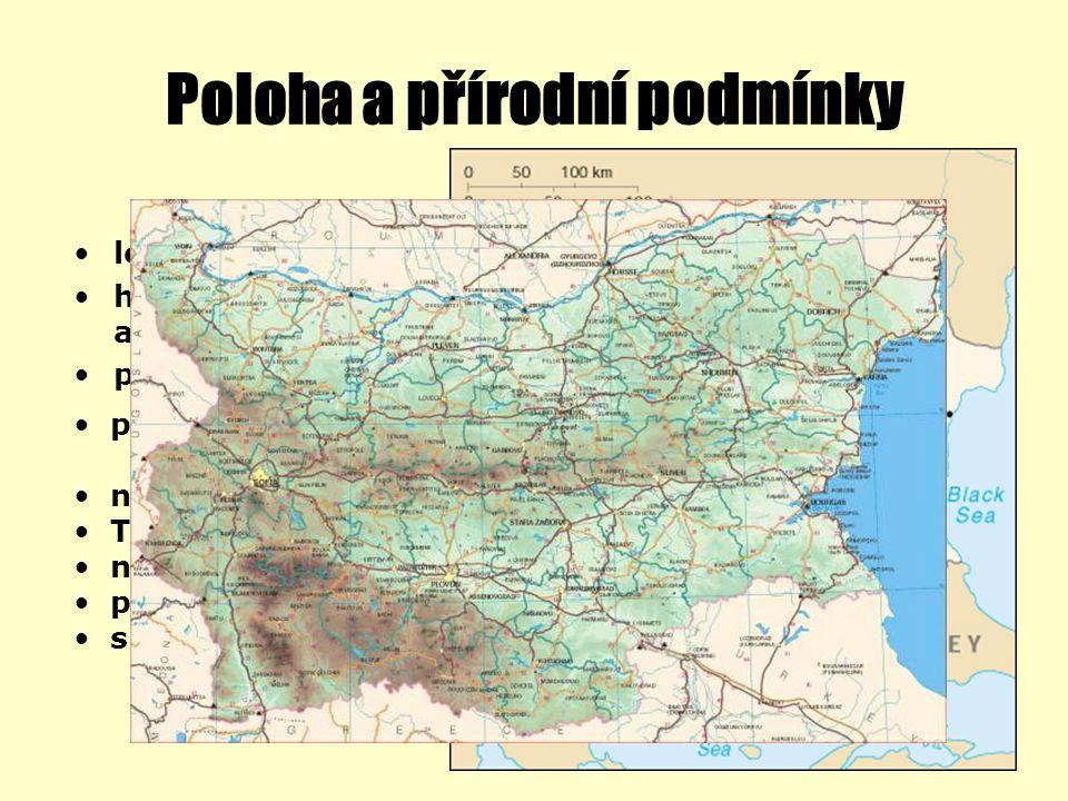 Poloha a přírodní podmínky leží na Balkánském poloostrově hraničí s Rumunskem, Jugoslávií, Makedonií, Řeckem a Tureckem přístup k Černému moři pohoří: