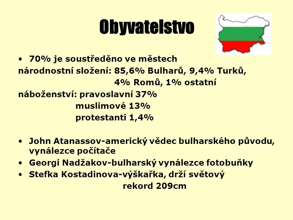 Obyvatelstvo 70% je soustředěno ve městech národnostní složení: 85,6% Bulharů, 9,4% Turků, 4% Romů, 1% ostatní náboženství: pravoslavní 37% muslimové