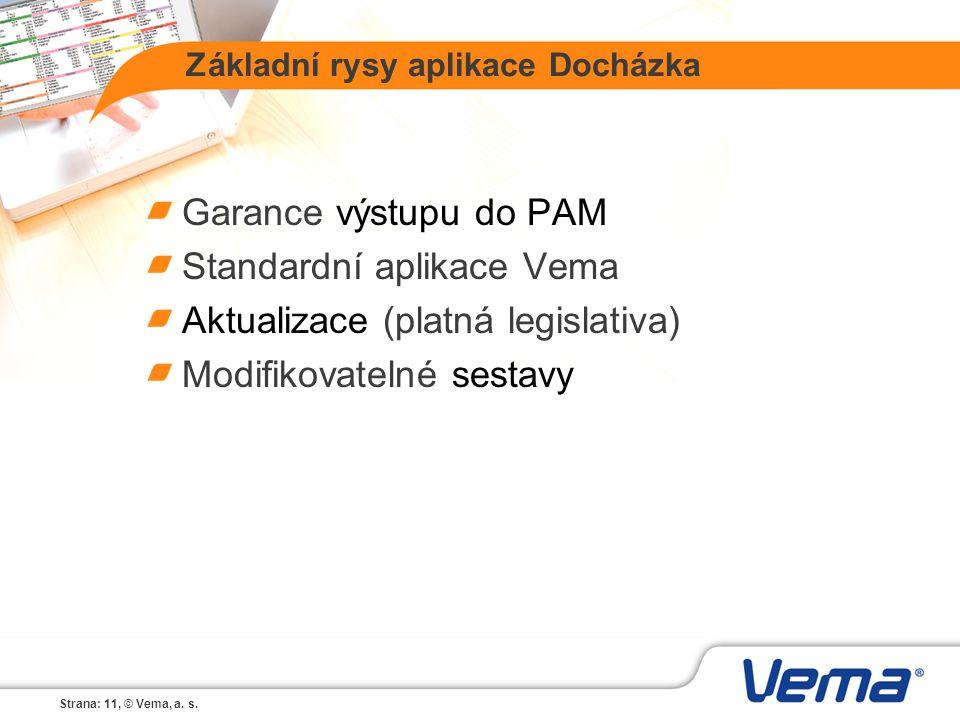 Strana: 11, © Vema, a. s. Základní rysy aplikace Docházka Garance výstupu do PAM Standardní aplikace Vema Aktualizace (platná legislativa) Modifikovat