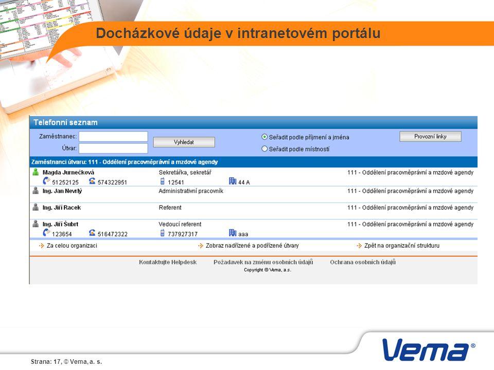 Strana: 17, © Vema, a. s. Docházkové údaje v intranetovém portálu