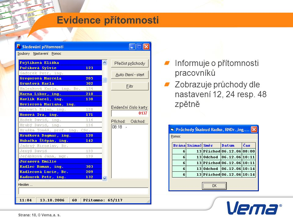 Strana: 18, © Vema, a. s. Evidence přítomnosti Informuje o přítomnosti pracovníků Zobrazuje průchody dle nastavení 12, 24 resp. 48 zpětně