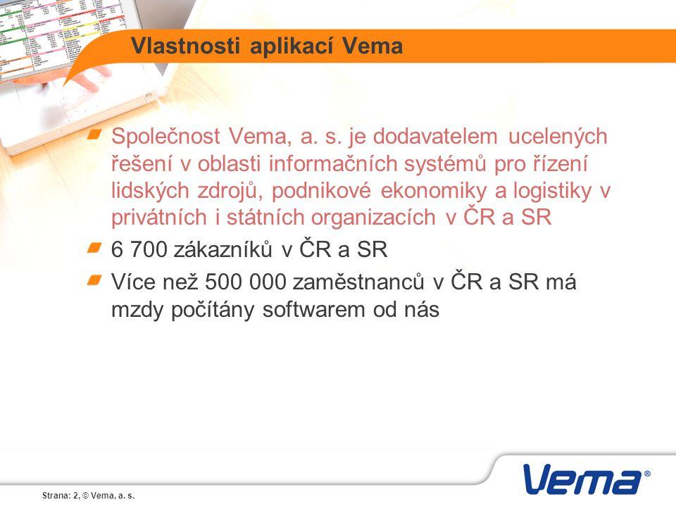 Strana: 2, © Vema, a. s. Vlastnosti aplikací Vema Společnost Vema, a. s. je dodavatelem ucelených řešení v oblasti informačních systémů pro řízení lid