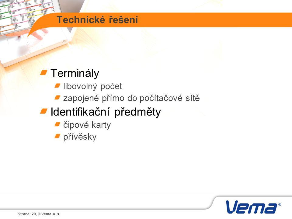Strana: 20, © Vema, a. s. Technické řešení Terminály libovolný počet zapojené přímo do počítačové sítě Identifikační předměty čipové karty přívěsky
