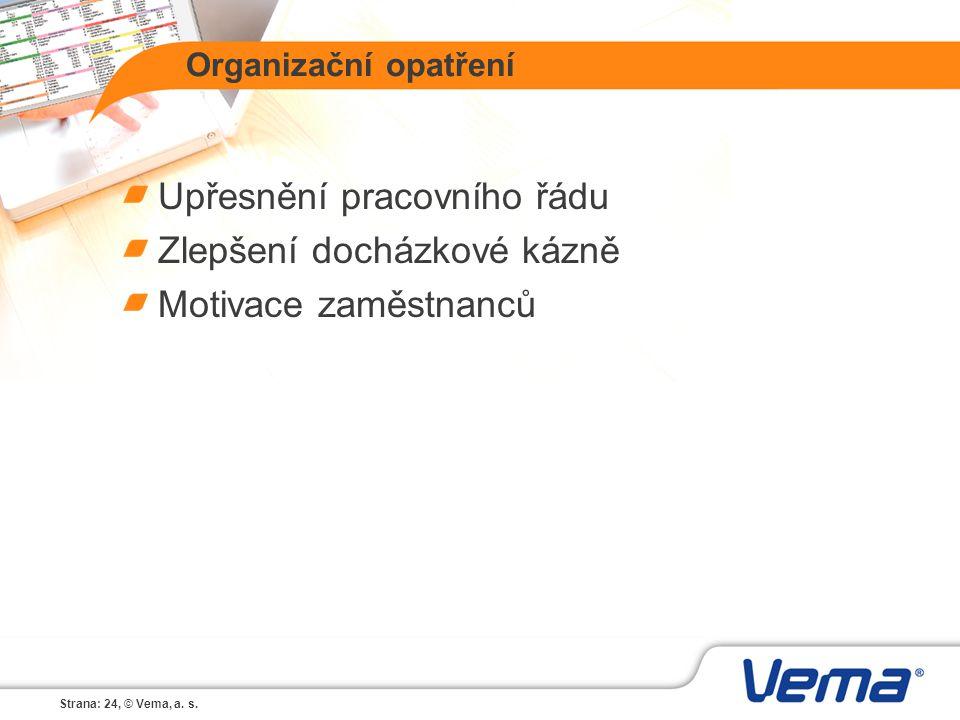 Strana: 24, © Vema, a. s. Organizační opatření Upřesnění pracovního řádu Zlepšení docházkové kázně Motivace zaměstnanců