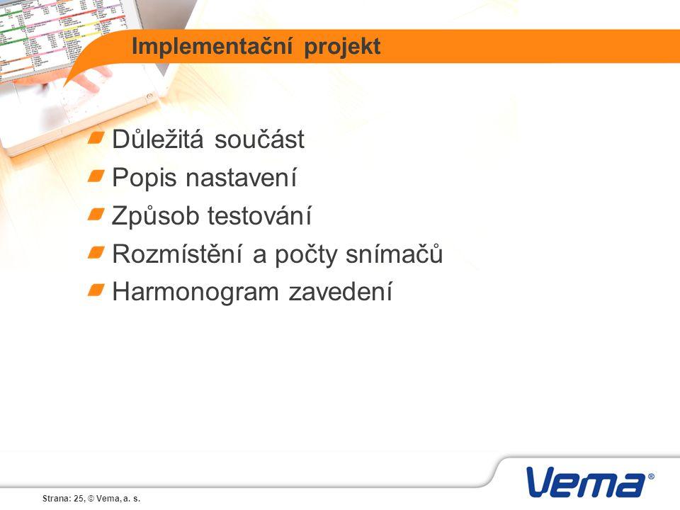 Strana: 25, © Vema, a. s. Implementační projekt Důležitá součást Popis nastavení Způsob testování Rozmístění a počty snímačů Harmonogram zavedení