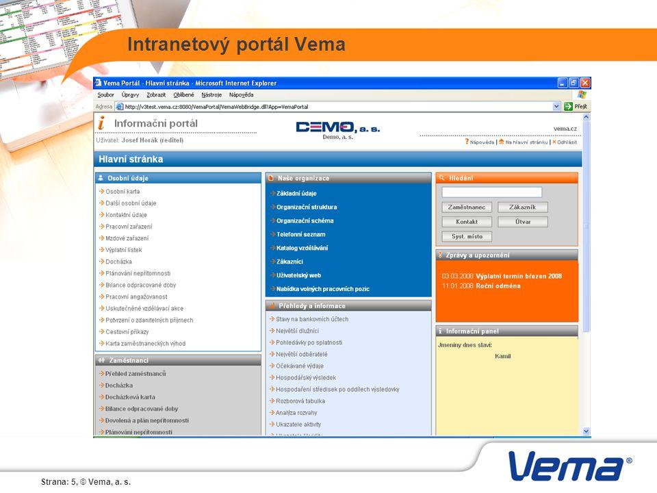Strana: 5, © Vema, a. s. Intranetový portál Vema