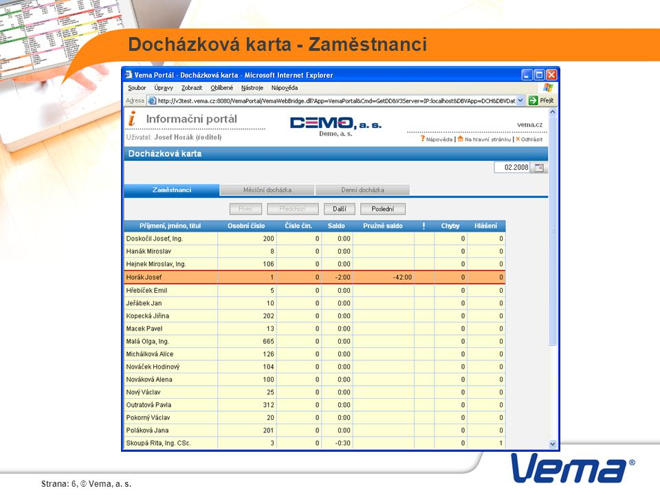 Strana: 6, © Vema, a. s. Docházková karta - Zaměstnanci