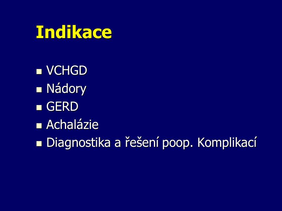 Indikace VCHGD VCHGD Nádory Nádory GERD GERD Achalázie Achalázie Diagnostika a řešení poop. Komplikací Diagnostika a řešení poop. Komplikací