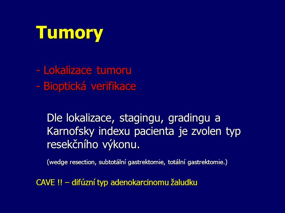 Tumory - Lokalizace tumoru - Bioptická verifikace Dle lokalizace, stagingu, gradingu a Karnofsky indexu pacienta je zvolen typ resekčního výkonu.