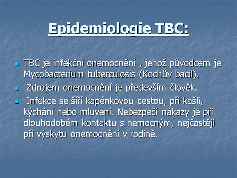 Epidemiologie TBC: TBC je infekční onemocnění, jehož původcem je Mycobacterium tuberculosis (Kochův bacil). TBC je infekční onemocnění, jehož původcem