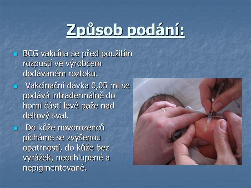 Způsob podání: BCG vakcína se před použitím rozpustí ve výrobcem dodávaném roztoku. BCG vakcína se před použitím rozpustí ve výrobcem dodávaném roztok