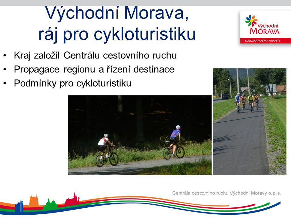Východní Morava, ráj pro cykloturistiku Kraj založil Centrálu cestovního ruchu Propagace regionu a řízení destinace Podmínky pro cykloturistiku