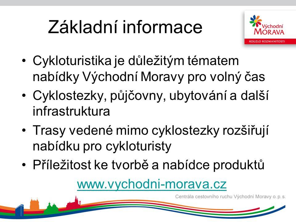 Základní informace Cykloturistika je důležitým tématem nabídky Východní Moravy pro volný čas Cyklostezky, půjčovny, ubytování a další infrastruktura T
